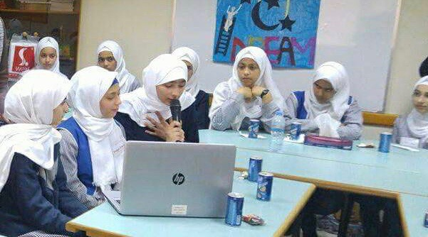 Palestinian girls from Gaza Girls Prep B Secondary School dreaming a difference online.